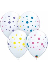 """11"""" Colourful Dots White Balloons Uninflated"""