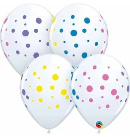 "11"" Colourful Dots White Balloons (Without Helium)"