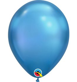 "11"" Chrome Blue Latex Balloon (Without Helium)"
