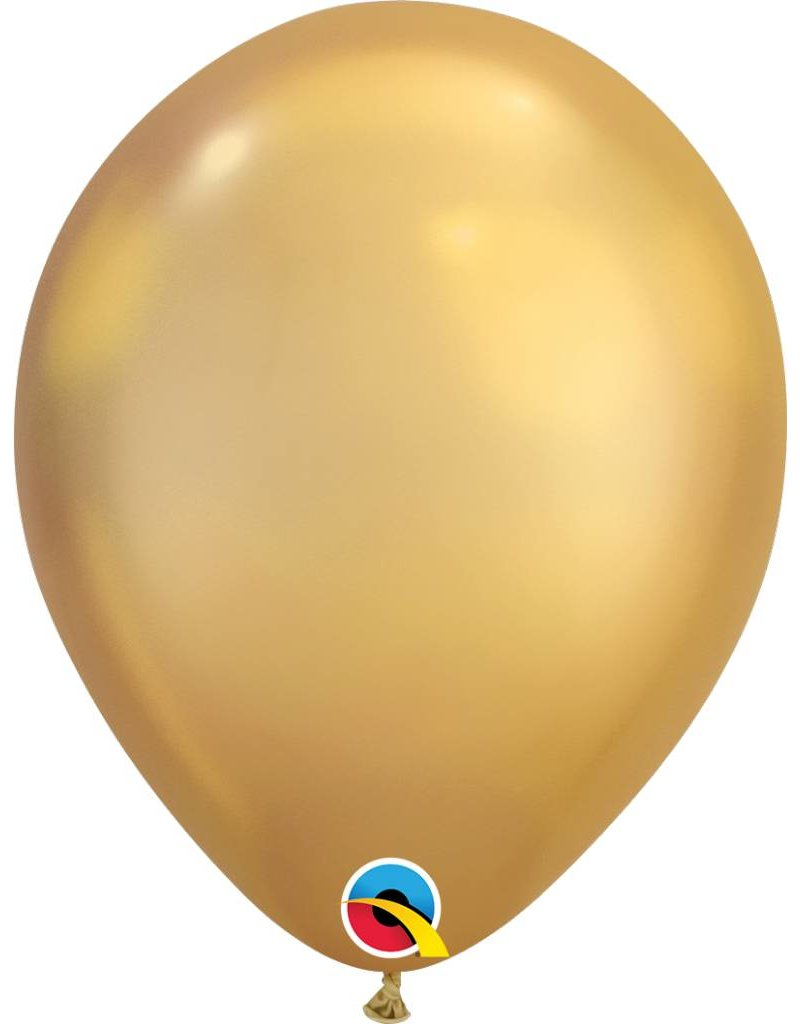 """11"""" Chrome Gold Latex Balloon (Without Helium)"""