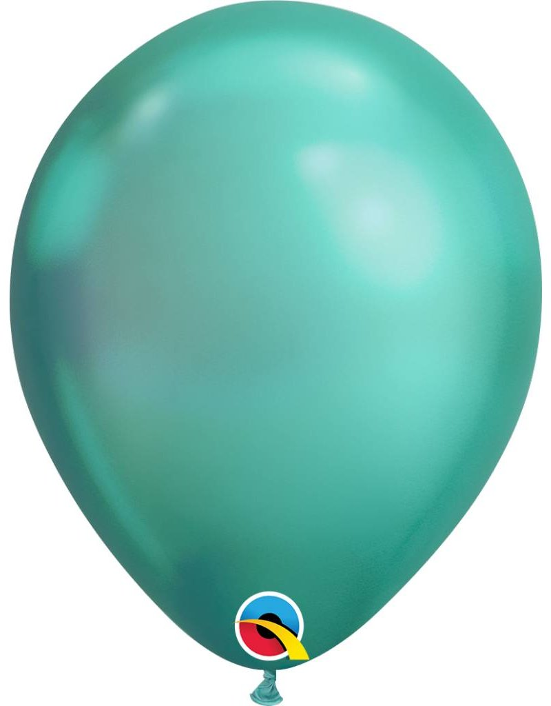 """11"""" Chrome Green Latex Balloon (Without Helium)"""