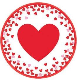 """Confetti Hearts 7"""" Round Plates (8)"""