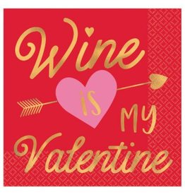 Wine Is My Valentine Hot Stamp Beverage Napkins (16)