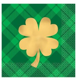 Gold Shamrock Beverage Napkins (16)
