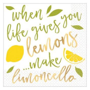 Lemons Hot-Stamped Beverage Napkins (16)