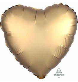 """Gold Sateen Satin Luxe Heart 18"""" Mylar Balloon"""