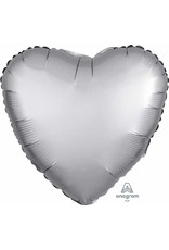 "Platinum Satin Luxe Heart 18"" Mylar Balloon"