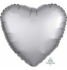 """Platinum Satin Luxe Heart 18"""" Mylar Balloon"""