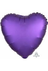 """Purple Royal Satin Luxe Heart 18"""" Mylar Balloon"""
