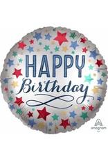 "Birthday Satin W/Stars 18"" Mylar Balloon"
