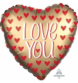 "Love You Gold Satin 18"" Heart Mylar Balloon"