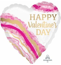 "Watercolour Geode Happy Valentine's 18"" Heart Mylar Balloon"