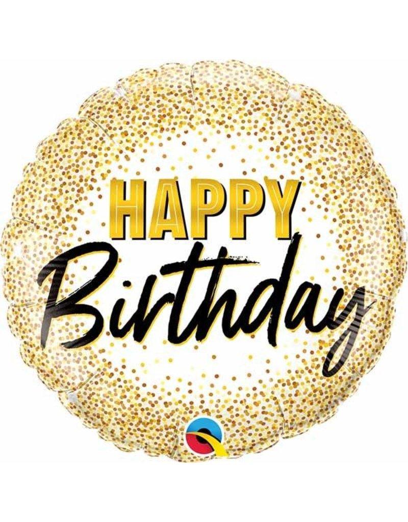 "Birthday Gold Glitter Dots 18"" Mylar Balloon"