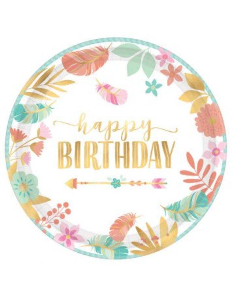 "Boho Birthday Girl Round Metallic 10 1/2"" Plates (8)"