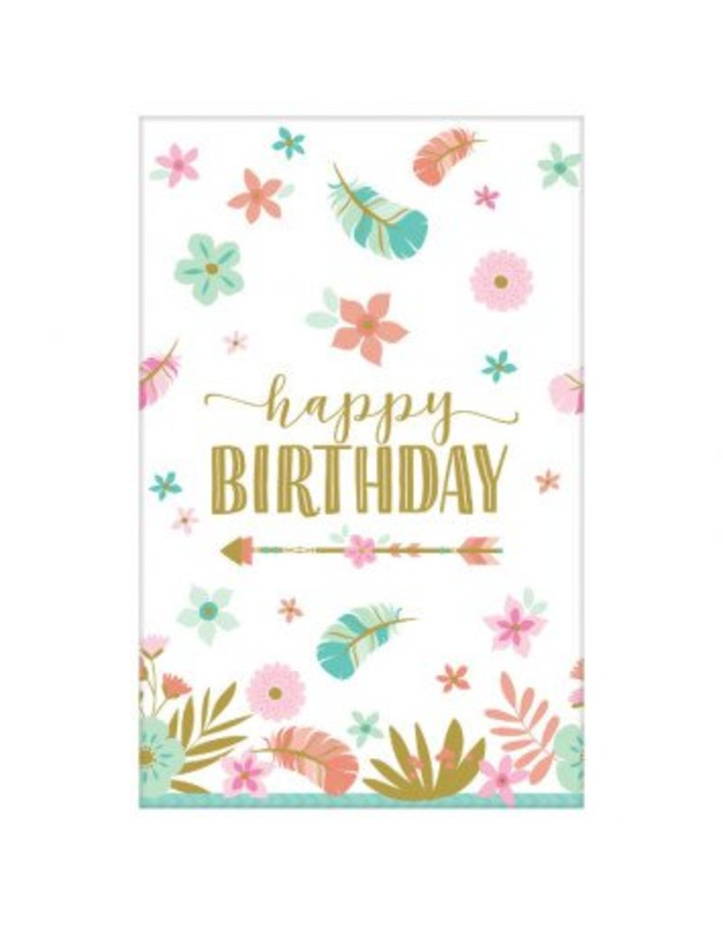 Boho Birthday Girl Paper Table Cover