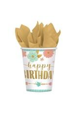Boho Birthday Girl Cups 9 oz. (8)