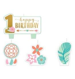 Boho Birthday Girl Birthday Candle Set