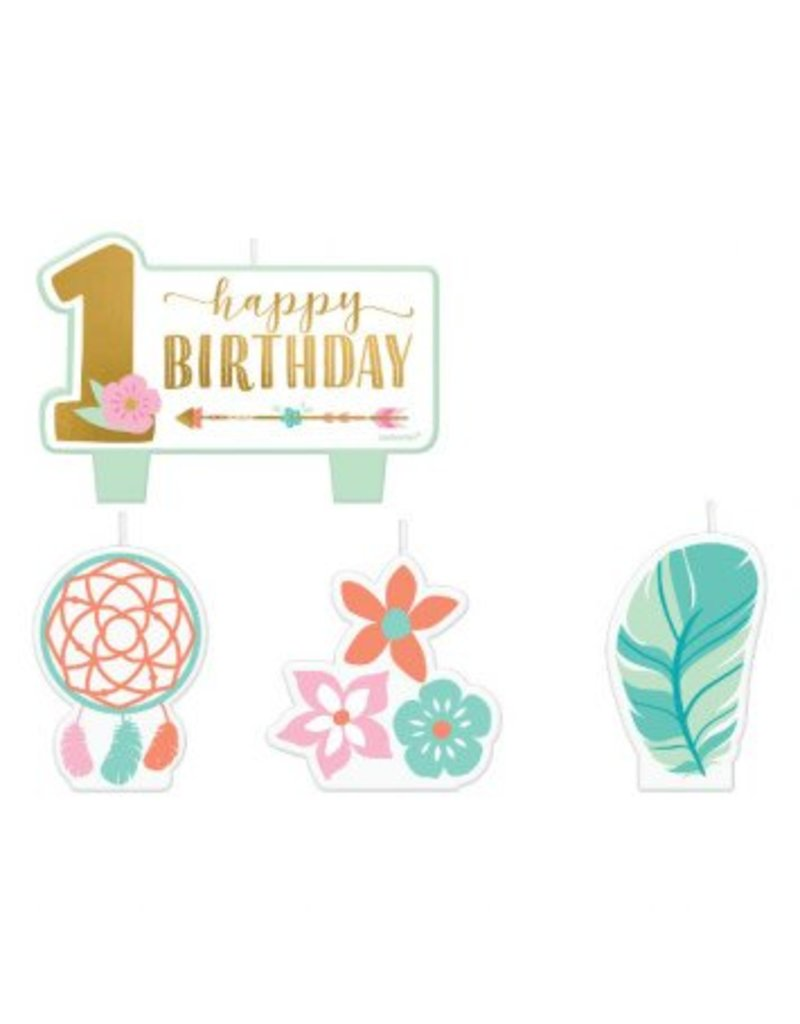 Boho Birthday Girl Birthday Candle Set