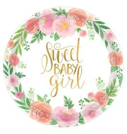 "Floral Baby Round 10 1/2"" Plates"