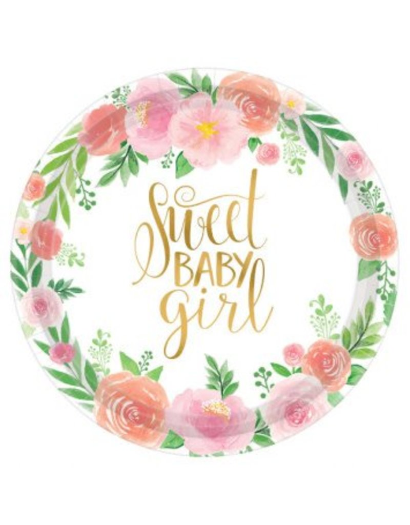 """Floral Baby Round 10 1/2"""" Plates"""