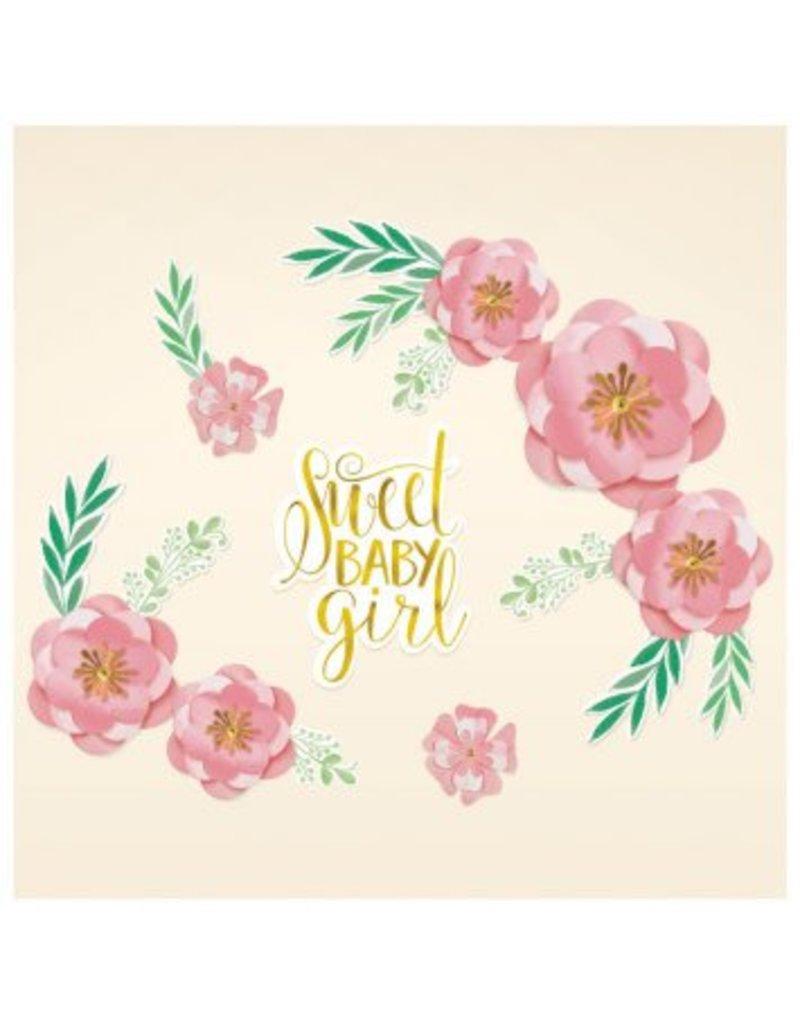 Floral Baby Backdrop - Foil Hot-Stamped