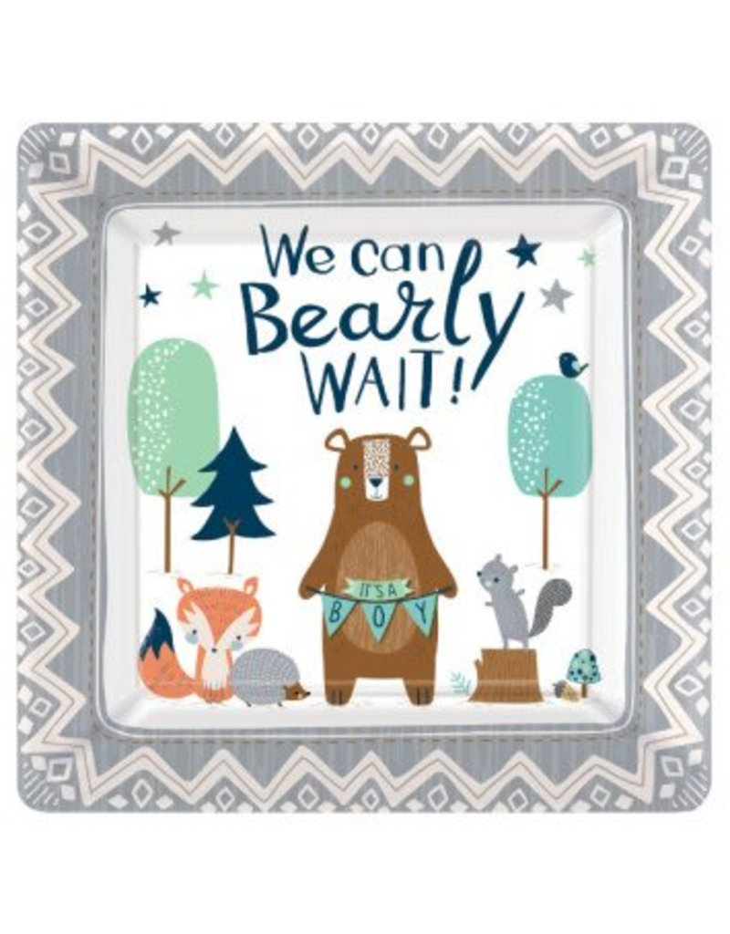 "Bear-ly Wait Square 10"" Plates (8)"