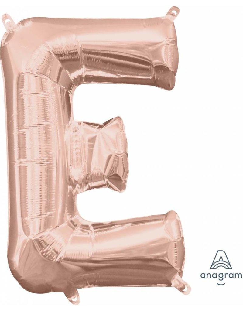 "Air-Filled Letter ""E""- Rose Gold 16"" Balloon (Will Not Float)"