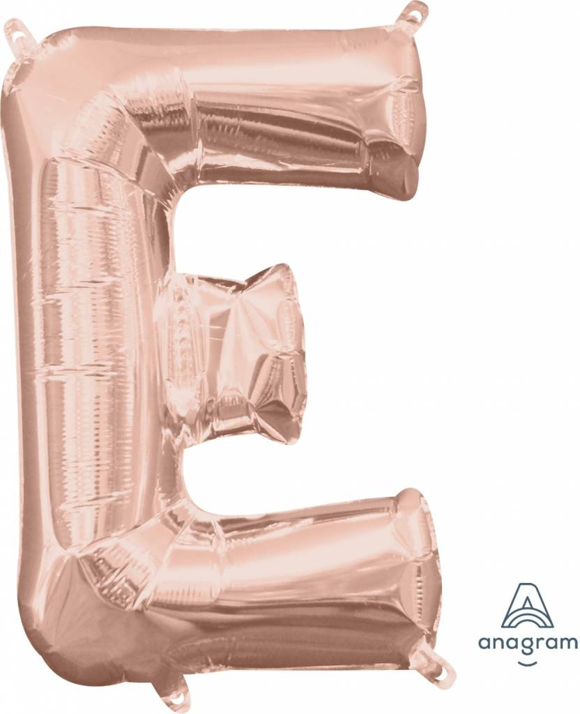 """Air-Filled Letter """"E""""- Rose Gold 16"""" Balloon (Will Not Float)"""