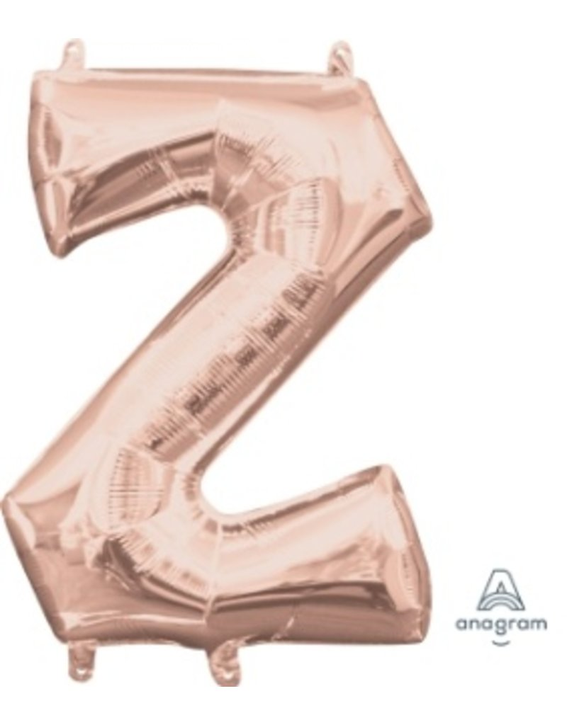 "Air-Filled Letter ""Z""- Rose Gold 16"" Balloon (Will Not Float)"