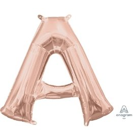 "Air-Filled Letter ""A""- Rose Gold 16"" Balloon (Will Not Float)"