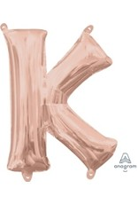 "Air-Filled Letter ""K""- Rose Gold 16"" Balloon (Will Not Float)"