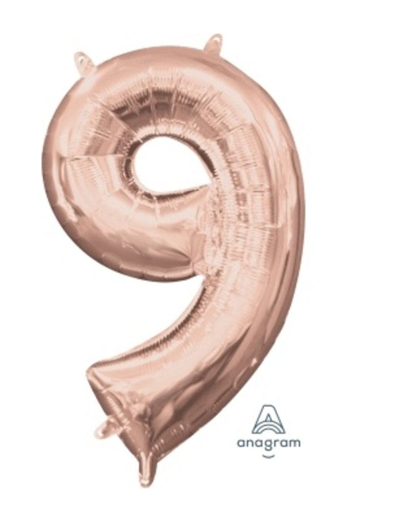 "Air-Filled Number ""9""-Rose Gold 16"" Balloon (Will Not Float)"