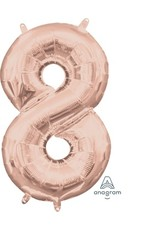 """Air-Filled Number """"8""""-Rose Gold 16"""" Balloon (Will Not Float)"""