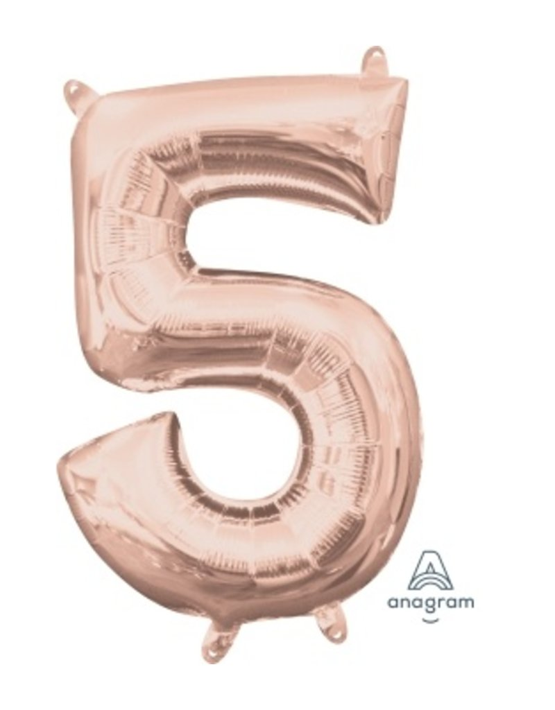 """Air-Filled Number """"5""""-Rose Gold 16"""" Balloon (Will Not Float)"""