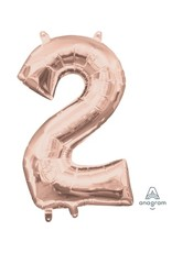 "Air-Filled Number ""2""- Rose Gold 16"" Balloon (Will Not Float)"