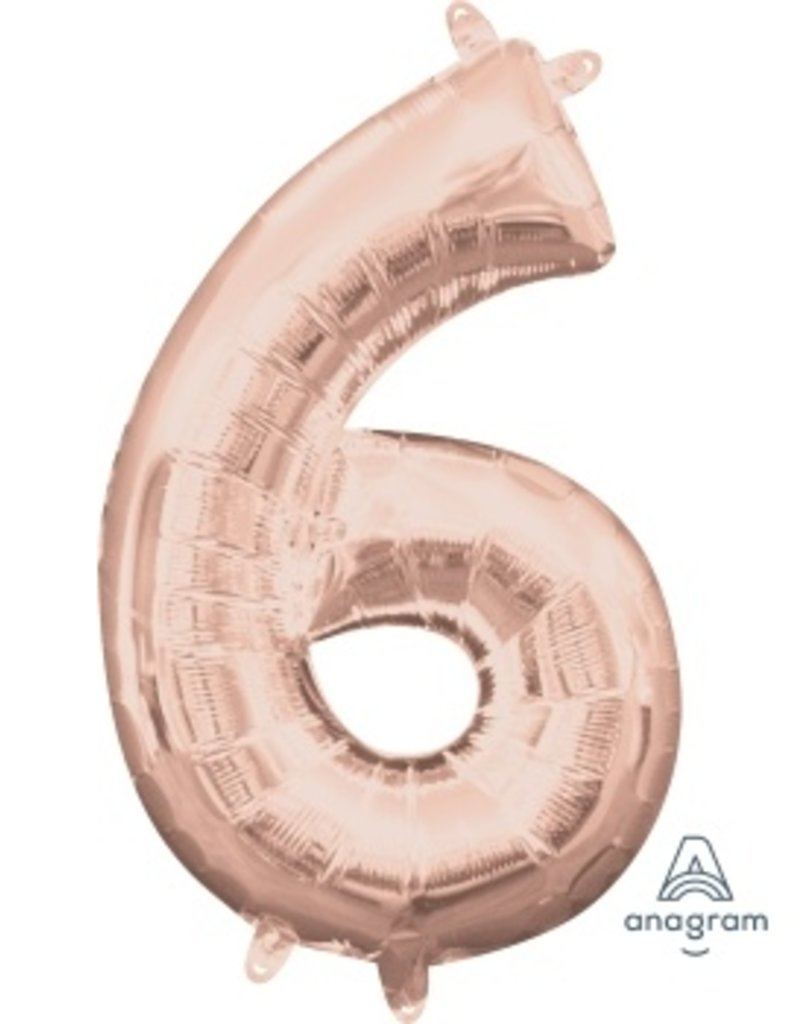 "Air-Filled Number ""6""- Rose Gold 16"" Balloon (Will Not Float)"