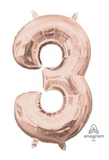 "Air-Filled Number ""3""- Rose Gold 16"" Balloon (Will Not Float)"