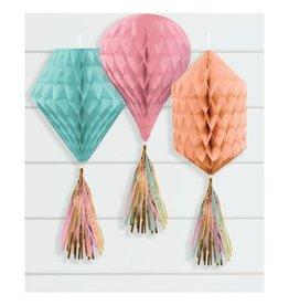 Mini Honeycombs w/ Tassels - Pastel Colours