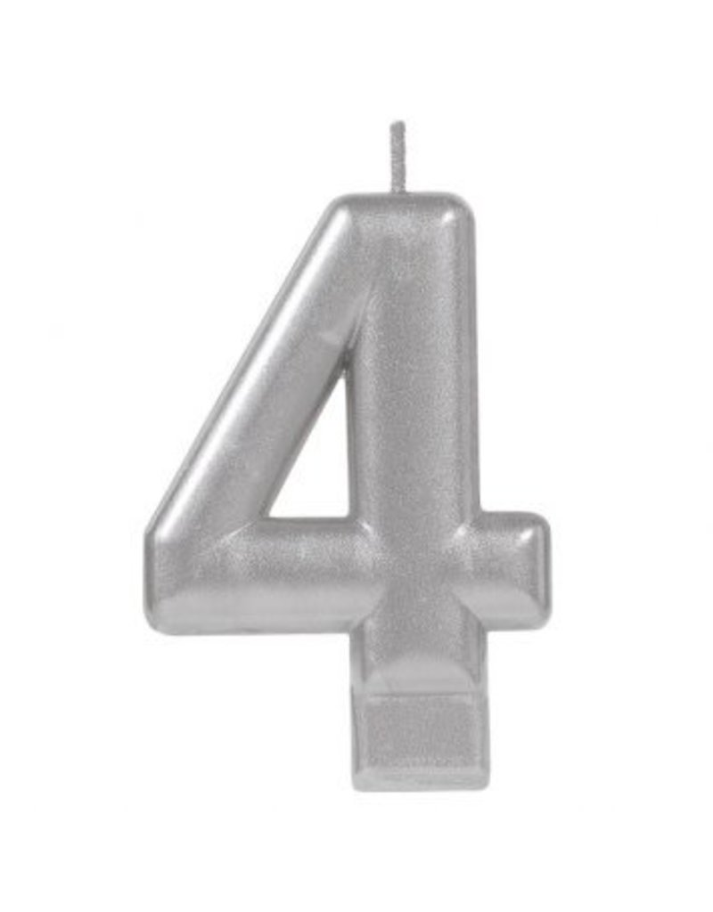 Numeral Metallic Candle #4 - Silver