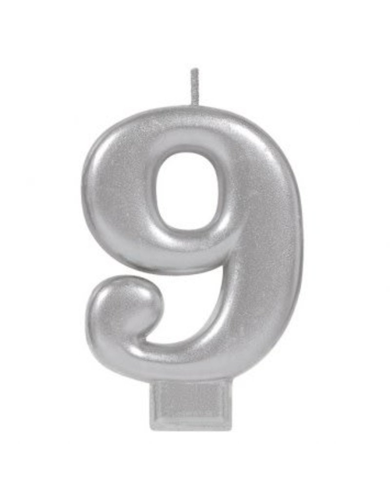 Numeral Metallic Candle #9 - Silver
