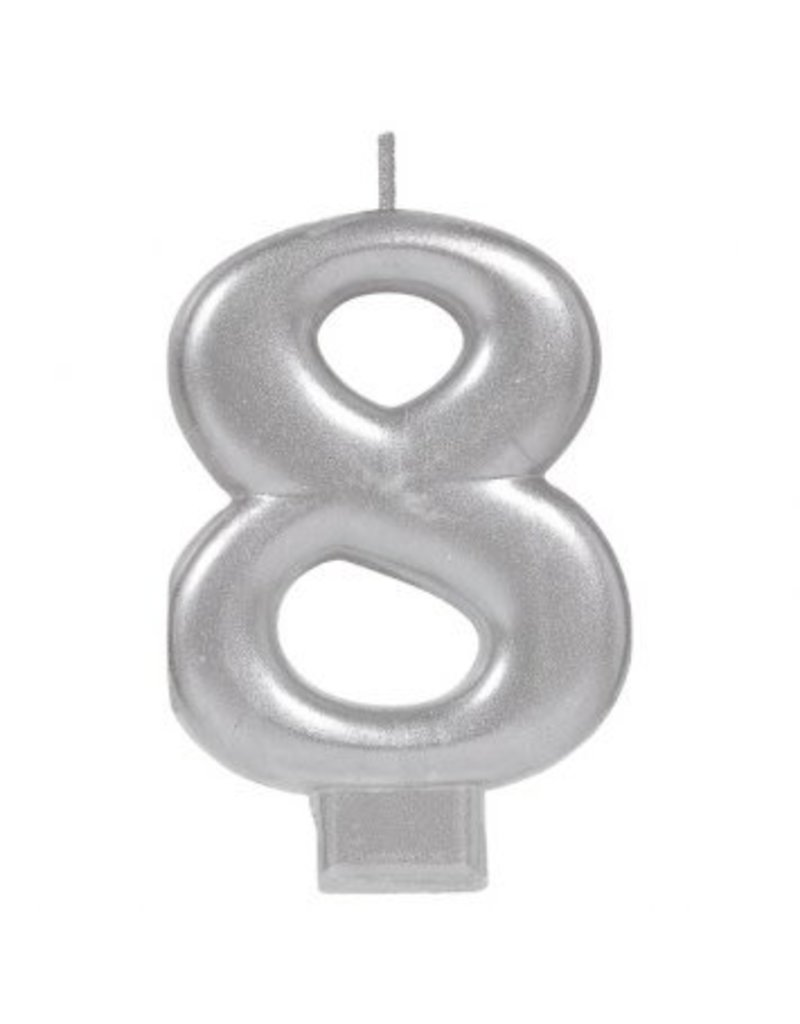 Numeral Metallic Candle #8 - Silver