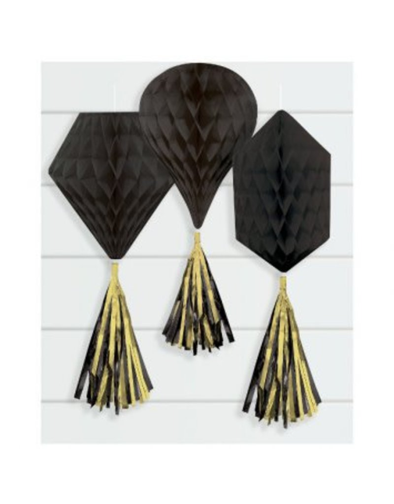 Black Mini Honeycombs w/ Tassels