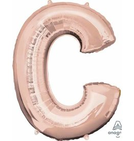Rose Gold Letter C Mylar Balloon