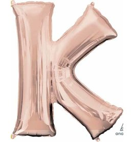 Rose Gold Letter K Mylar Balloon