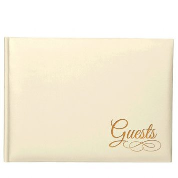 Ivory Guest Book w/Gold Detail