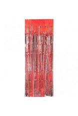Red Metallic Fringed Table Skirt