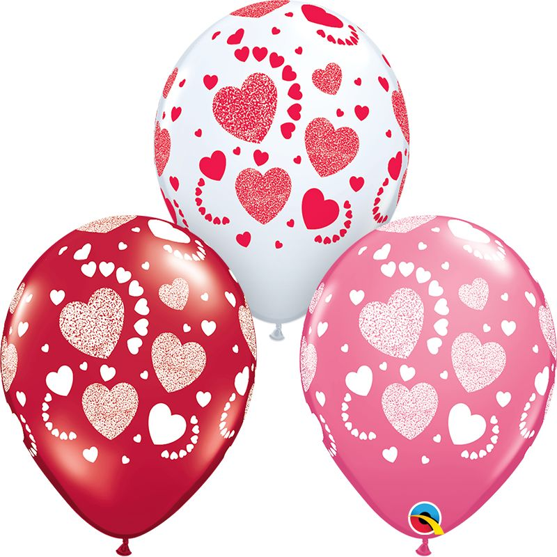 """11"""" Etched Hearts-A-Round Latex Balloon (Without Helium)"""