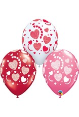 "11"" Etched Hearts-A-Round Latex Balloon Uninflated"