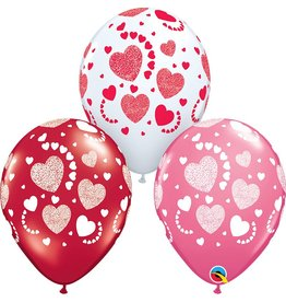 "11"" Etched Hearts-A-Round Latex Balloon (Without Helium)"