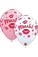 "11"" Kissy Lips Muah! Latex Balloon Uninflated"